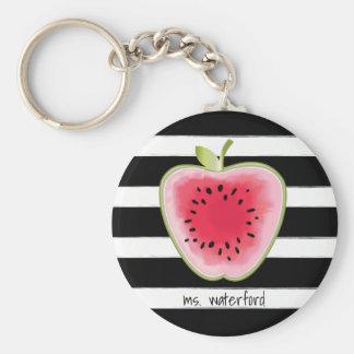 Watermelon Apple StripesTeacher Basic Round Button Key Ring