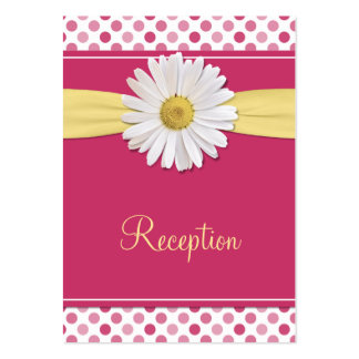 Watermelon Pink & Yellow Daisy Reception Cards Pack Of Chubby Business Cards