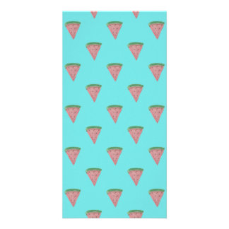 Watermelon Wedges in Watercolors on Aqua Blue Personalized Photo Card