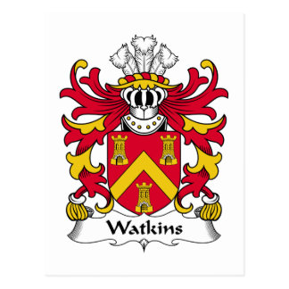 Watkins Family Crest Postcard