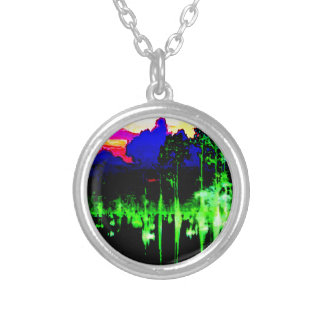 Wave Reflection on Lake at night Abstract Deco FUN Necklaces