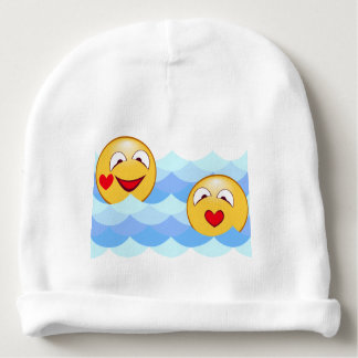 Wave smiley baby beanie