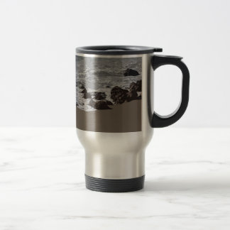 Waves Crashing on to the Beach Travel Mug