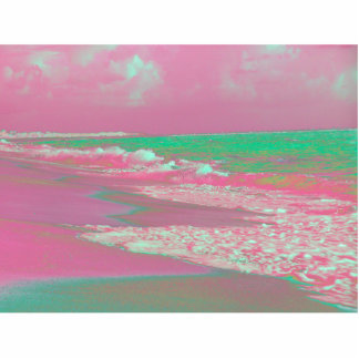 waves solarized magenta green beach abstract cut out