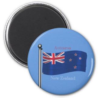 Waving Flag of New Zealand 6 Cm Round Magnet