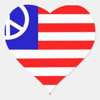 Waving Peace USA Flag Heart Stickers