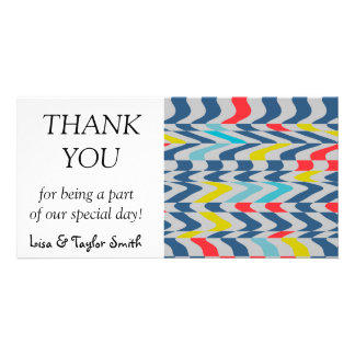 Wavy abstract design personalized photo card