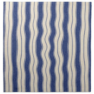 Wavy Blue and White Stripes Napkin