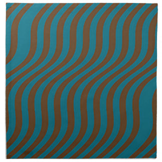 Wavy Brown and Blue Slide Stripes Napkin
