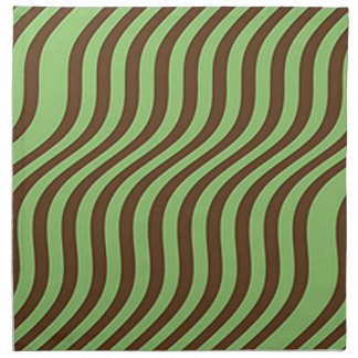 Wavy Brown and Green Slide Stripes Napkin