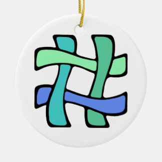 Wavy Colorful # Hashtag Blue Green Social Media Christmas Ornament