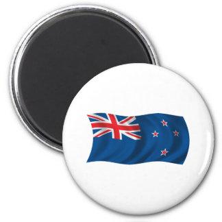 Wavy New Zealand Flag 6 Cm Round Magnet