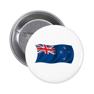 Wavy New Zealand Flag Pinback Button