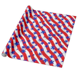 Wavy Patriotic Blue Stars Over Red & White Stripes Wrapping Paper