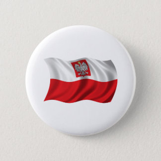 Wavy Poland Flag 6 Cm Round Badge
