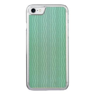 Wavy Vertical Stripes Turquoise Aquamarine Carved iPhone 7 Case