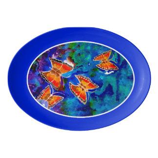 Wax Relief Butterflies (Blue Trim) Platter