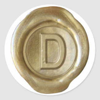 Wax Seal Monogram - Gold - Bold D - Stickers