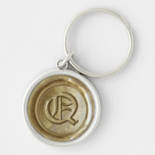 Wax Seal Monogram - Gold - Old English Q - Keychains