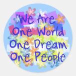 We Are One World Round Sticker