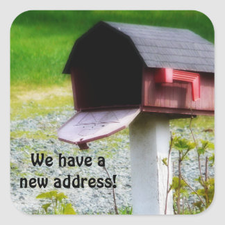 We have a new Address - Country Mailbox Square Sticker