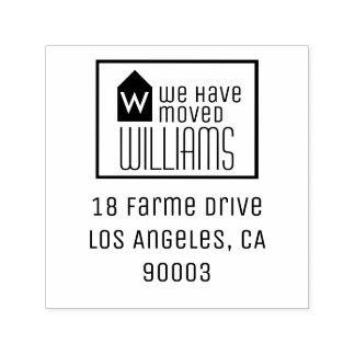 we have moved, black&white new family address self-inking stamp