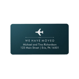 We Have Moved Blue and Silver with Airplane Label