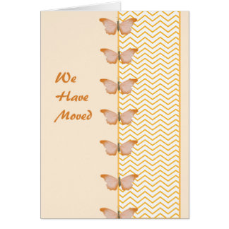 We Have Moved Card with Butterflies and Chevron.