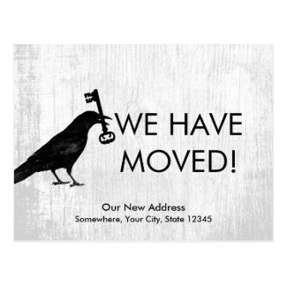 We Have Moved Crow with Key Rustic White Wood Postcard