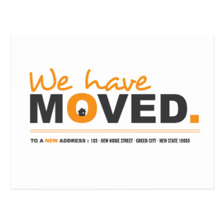 We Have Moved Orange Moving Announcement Postcard