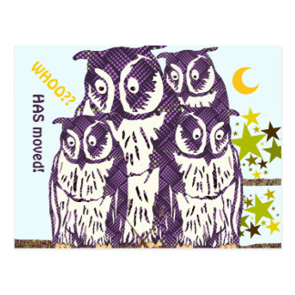We Have Moved Owl Family Postcard