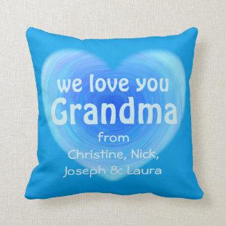 We Love You Grandma Personalized Blue Heart Throw Cushions