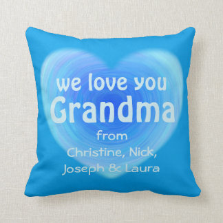 We Love You Grandma Personalized Blue Heart Throw Pillow