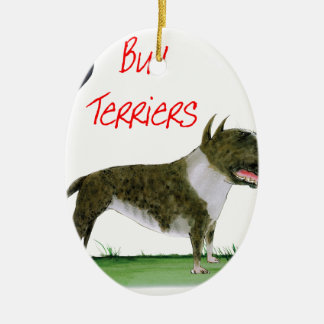 we luv bull terriers from tony fernandes ceramic oval decoration