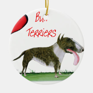 we luv bull terriers from tony fernandes round ceramic decoration