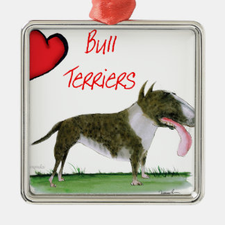 we luv bull terriers from tony fernandes Silver-Colored square decoration