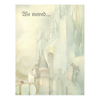 We Moved Address Change vintage fantasy castle Postcard