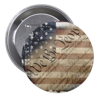 We The People Vintage American Flag Button