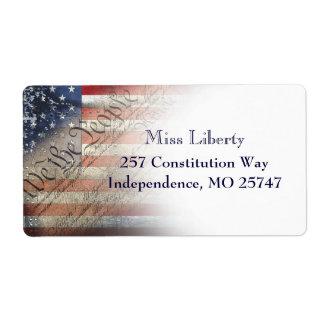 We The People Vintage American Flag Return Labels