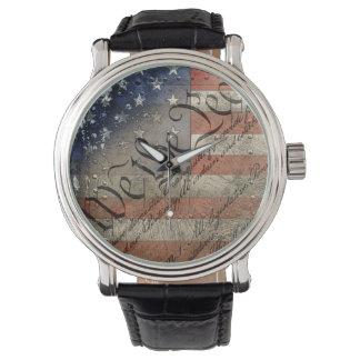 We The People Vintage American Flag Wrist Watch