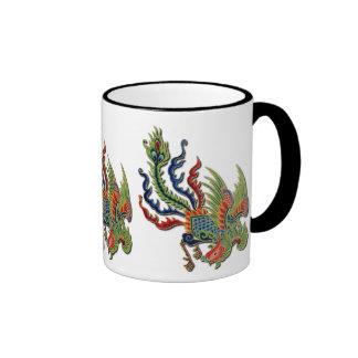 Wealthy Peacock Vintage Chinese Tattoo Ringer Mug
