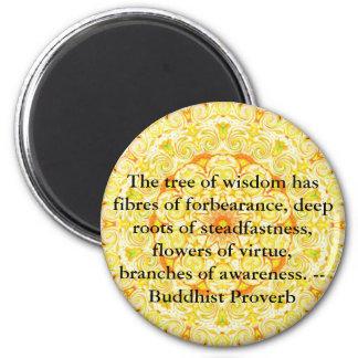 Wearable Buddhist Wisdom - The tree of wisdom 6 Cm Round Magnet