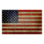 Weathered, distressed American Flag Print