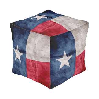 Weathered Vintage Texas State Flag Pouf