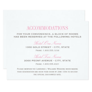 Wedding Accommodation Card | Pink and Gray
