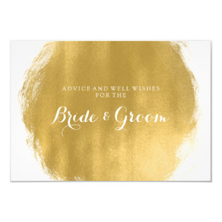Wedding Advice Card Gold Paint Look