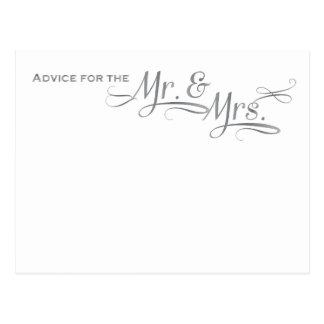 Wedding advice card in silver font postcard