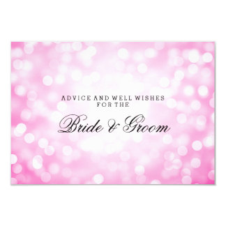 Wedding Advice Card Pink Glitter Lights