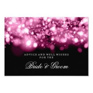 Wedding Advice Card Pink Sparkling Lights