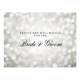 Wedding Advice Card Silver Glitter Lights Postcard